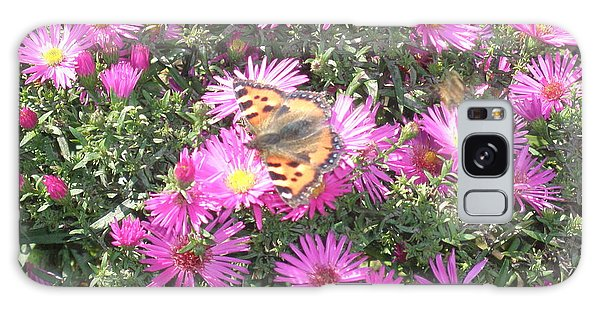 Butterfly And Pink Flowers Galaxy Case