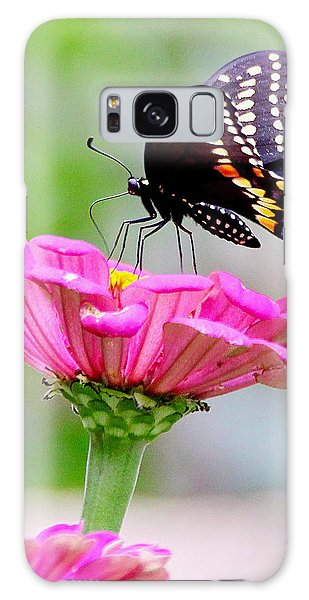 Butterfly On Pink Flower Galaxy Case