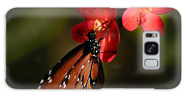 Butterfly On Red Blossom Galaxy Case