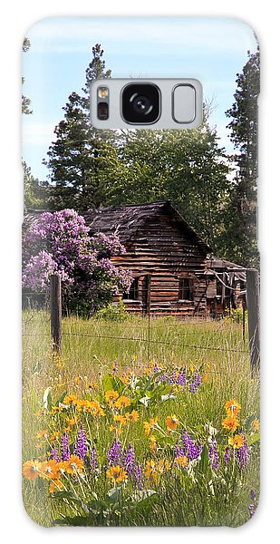 Cabin And Wildflowers Galaxy Case by Athena Mckinzie