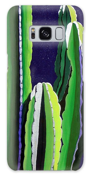 Cactus In The Desert Moonlight Galaxy Case by Karyn Robinson