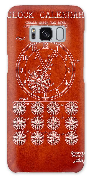 Calendar Galaxy Case - Calender Clock Patent From 1926 - Red by Aged Pixel
