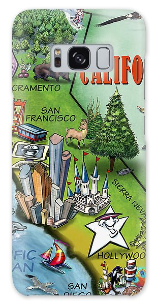 California Cartoon Map Galaxy Case