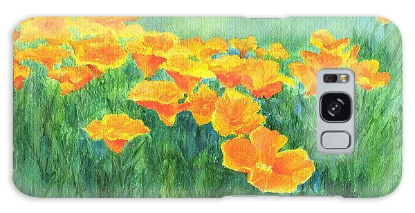 California Golden Poppies Field Bright Colorful Landscape Painting Flowers Floral K. Joann Russell Galaxy Case