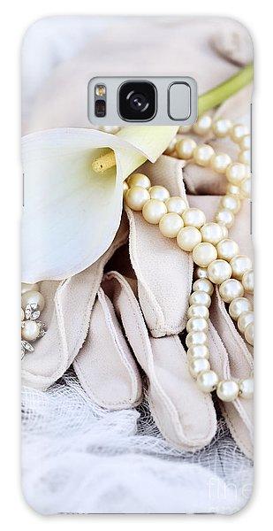Calla Lily With Pearls Galaxy Case by Stephanie Frey