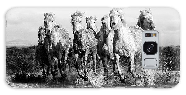 Camargue Horses At The Gallop Bw Galaxy Case