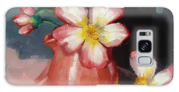 Camellias And Chinese Tea Jug Galaxy Case by Margaret Stockdale