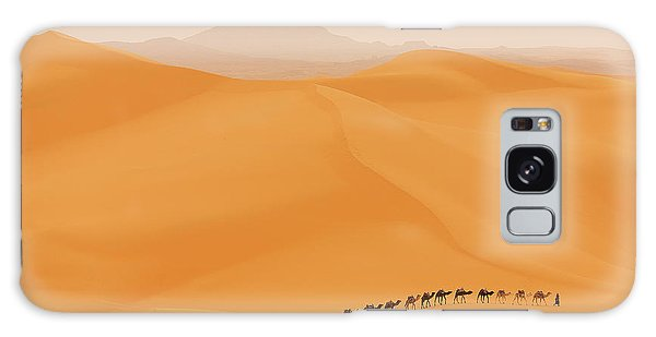 Dunes Galaxy Case - Camels Caravan In Sahara by Dan Mirica