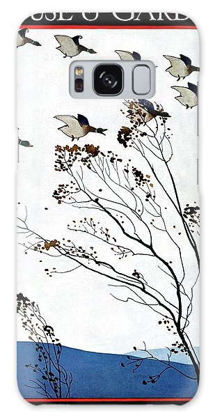Canadian Geese Over Brown-leafed Trees Galaxy Case