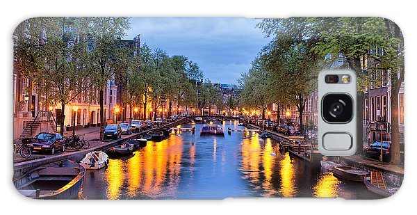 Canal In Amsterdam At Dusk Galaxy Case