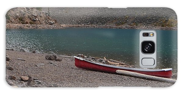 Canoe At Moraine Lake Galaxy Case by Cheryl Miller