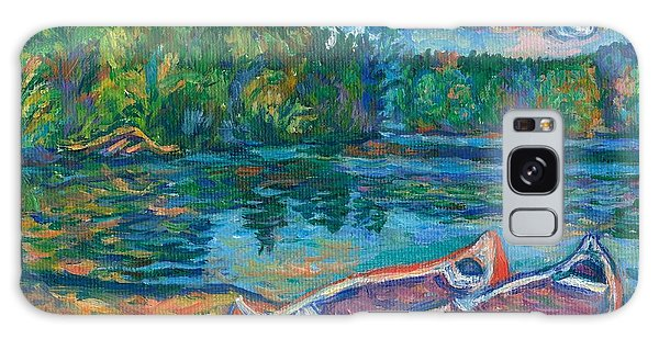 Canoes At Mountain Lake Sketch Galaxy Case