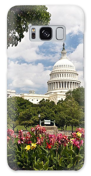 Capitol Buildingwashington Dc And Flower Garden Galaxy Case