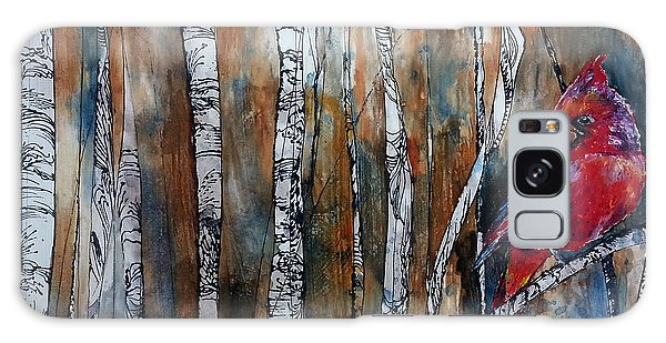 Cardinal In Birch Tree Forest Galaxy Case