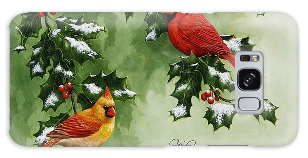 Song Bird Galaxy Case - Cardinals Holiday Card - Version With Snow by Crista Forest