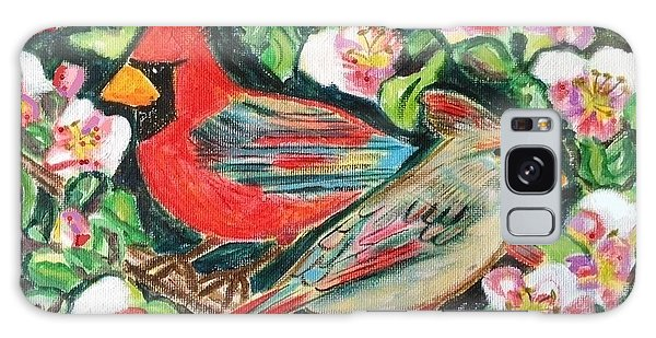 Cardinals In An Apple Tree Galaxy Case by Diane Pape