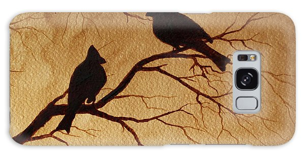 Cardinals Silhouettes Coffee Painting Galaxy Case