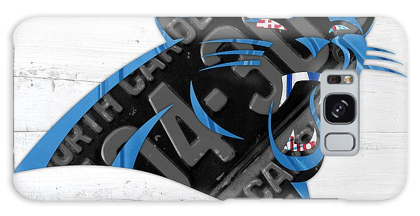 Panther Galaxy Case - Carolina Panthers Football Team Retro Logo Recycled North Carolina License Plate Art by Design Turnpike