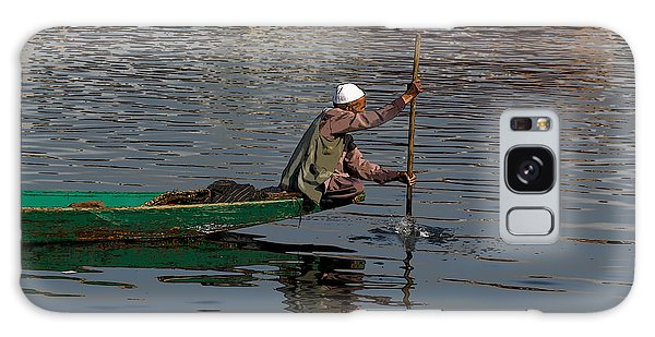 Cartoon - Man Plying A Wooden Boat On The Dal Lake Galaxy Case
