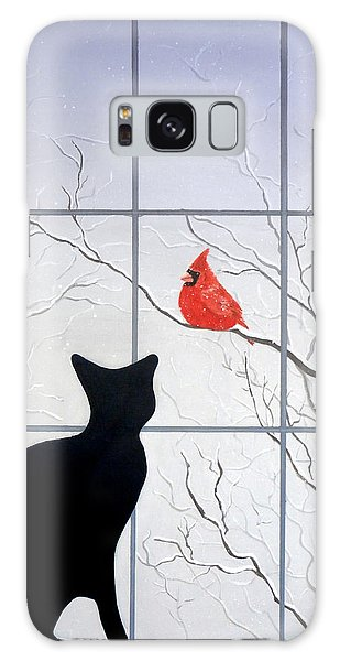 Cat And Cardinal Galaxy Case by Karyn Robinson