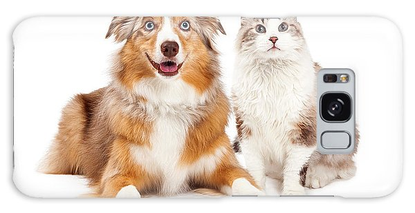 Cat And Happy Dog Together Galaxy Case