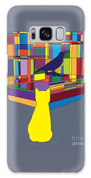 Galaxy Case featuring the digital art Cat Bird Pop by Megan Dirsa-DuBois