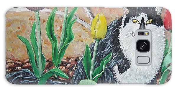 Cat By The Tulips  Galaxy Case