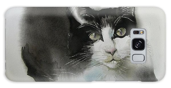 Cat In Black And White Galaxy Case