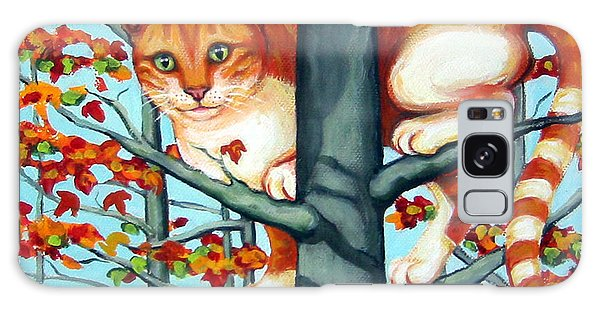 Orange Cat In Tree Autumn Fall Colors Galaxy Case