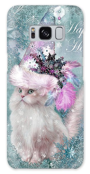 Galaxy Case featuring the mixed media Cat In The Snowflake Santa Hat by Carol Cavalaris