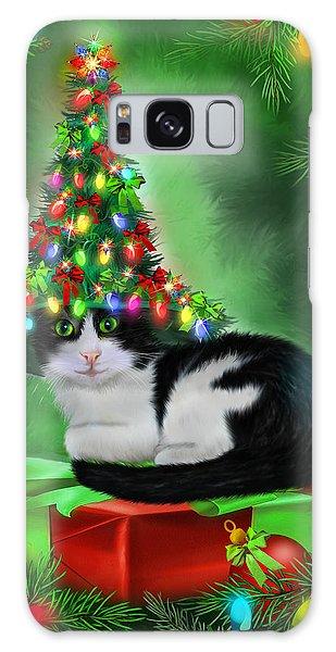 Galaxy Case featuring the mixed media Cat In Xmas Tree Hat by Carol Cavalaris