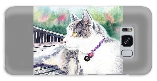 Watercolor Pet Portraits Galaxy Case - Cat by Irina Sztukowski