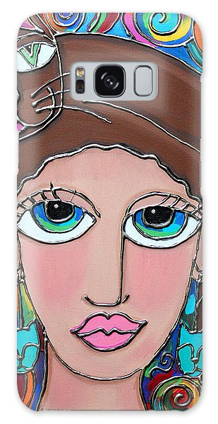 Cat Lady With Brown Hair Galaxy Case by Cynthia Snyder