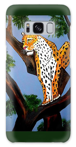 Cat On A Hot Wood Tree Galaxy Case