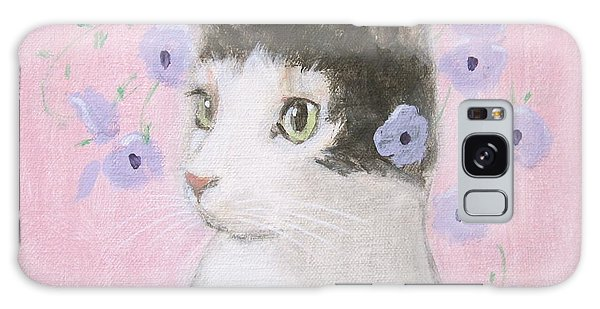 Cat With Purple Flowers Galaxy Case