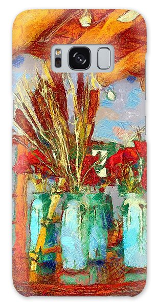 Cattails And Poppies Galaxy Case by Carrie OBrien Sibley