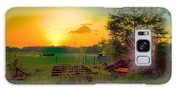 Cattle Ranch Sundown Galaxy Case by Lewis Mann