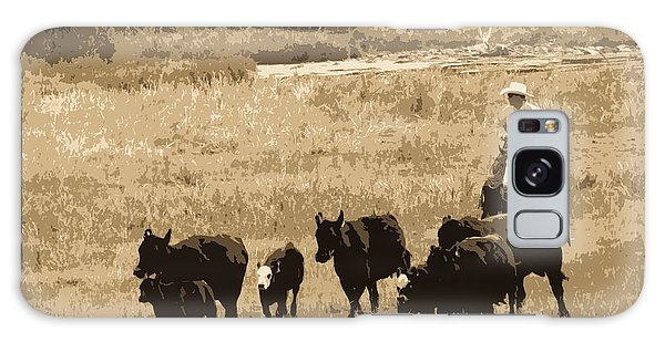 Cattle Round Up Sepia Galaxy Case by Athena Mckinzie