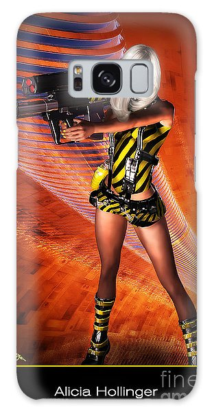 Caution Sci-fi Blonde With A Gun Galaxy Case