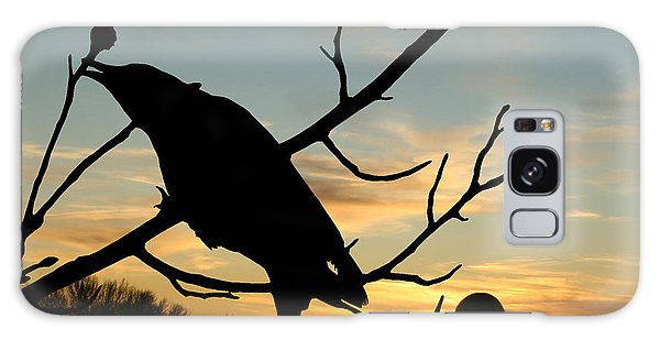 Cawcaw Over Sunset Silhouette Art Galaxy Case