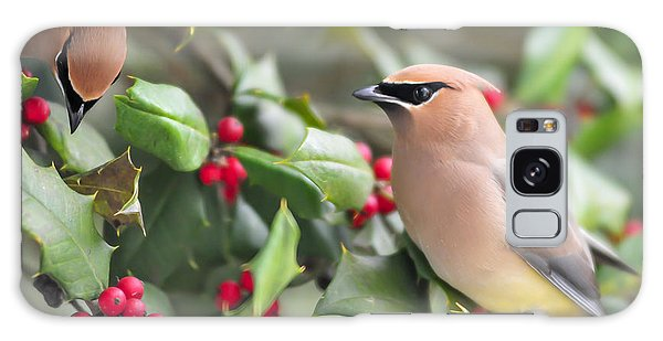 Cedar Waxwing In Holly Tree Galaxy Case