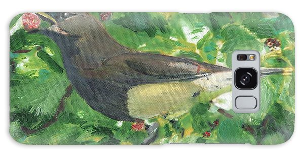 Cedar Waxwing Eating Mulberry Galaxy Case
