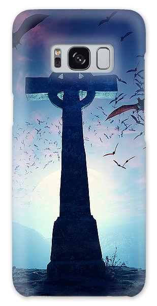 Celtic Cross With Swarm Of Bats Galaxy Case