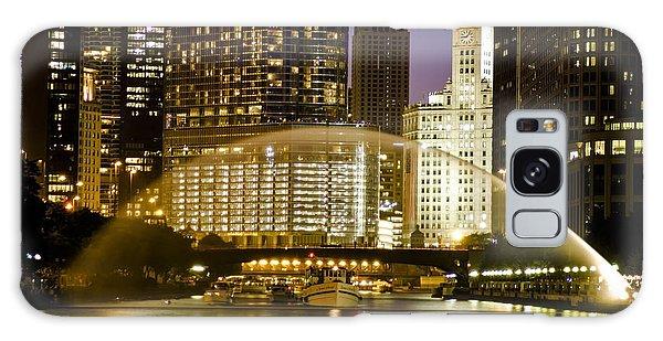 Centennial Fountain Over Chicago River At Dusk Galaxy Case