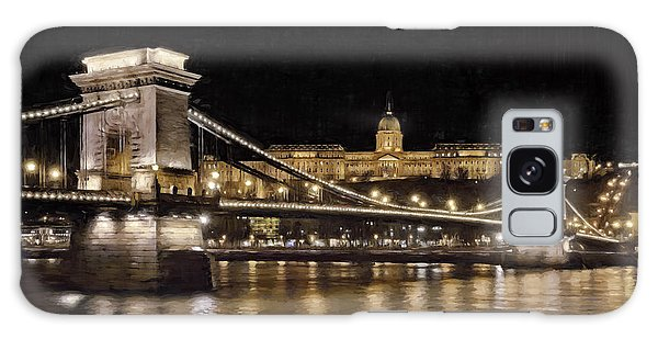 Galaxy Case featuring the photograph Chain Bridge And Buda Castle Winter Night Painterly by Joan Carroll