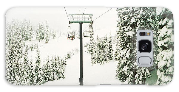 Cold Day Galaxy Case - Chair Lift And Snowy Evergreen Trees by Panoramic Images