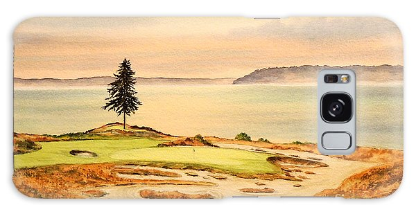 Galaxy Case featuring the painting Chambers Bay Golf Course Hole 15 by Bill Holkham
