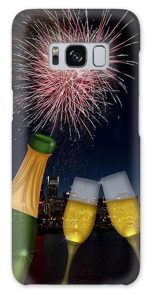 Champagne Toast With Portland Oregon Skyline Galaxy Case