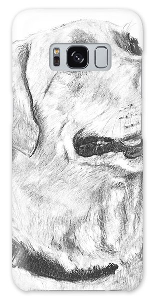Charcoal Drawing Yellow Lab In Profile Galaxy Case by Kate Sumners