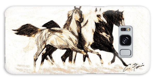Charcoal Horses Galaxy Case